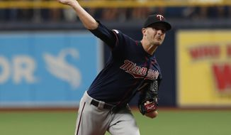 Minnesota Twins pitcher Jake Odorizzi throws against the Tampa Bay Rays during the first inning of a baseball game Sunday, June 2, 2019, in St. Petersburg, Fla. (AP Photo/Scott Audette)