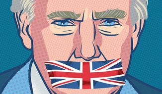 Illustration on the British Parliment's snub of President Trump by Linas Garsys/The Washington Times