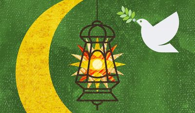 Illustration on Ramadan and peace by Greg Groesch/The Washington Times