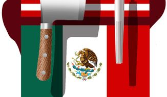 Illustration on U.S. Mexico economic relations by Alexander Hunter/The Washington Times