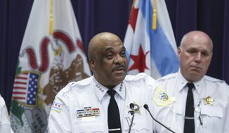 "Chicago Police Superintendent Eddie Johnson speaks at a news conference Monday, June 3, 2019, in Chicago. Johnson is decrying a ""despicable level of violence"" during a weekend in which 52 people in the city were shot, eight of them fatally, and two people were stabbed to death. (AP Photo/Teresa Crawford)"