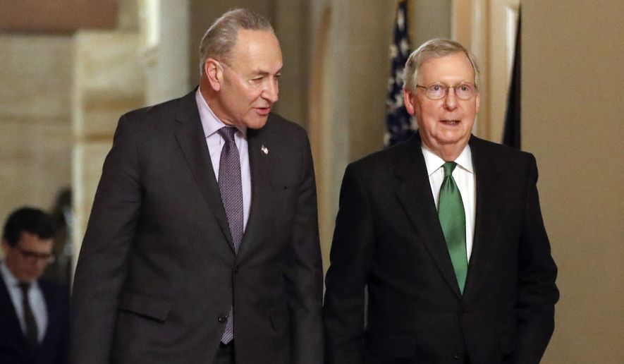 In this Feb. 7, 2018, file photo, Senate Majority Leader Mitch McConnell, R-Ky., and Senate Minority Leader Chuck Schumer, D-N.Y., left, walk to the chamber the Capitol in Washington. (AP Photo/Pablo Martinez Monsivais, File) **FILE**