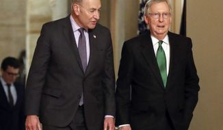 In this Feb. 7, 2018, file photo, Senate Majority Leader Mitch McConnell, R-Ky., and Senate Minority Leader Chuck Schumer, D-N.Y., left, walk to the chamber the Capitol in Washington. (AP Photo/Pablo Martinez Monsivais, File)