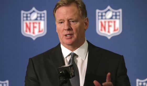NFL commissioner Roger Goodell speaks during a news conference in Irving, Texas, Dec. 12, 2018. (AP Photo/LM Otero) ** FILE **