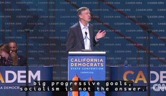 "Former Colorado Governor John Hickenlooper tells California's Democratic Convention that ""socialism is not the answer"" on June 1, 2019. The San Francisco crowd responded to the Democrat with a cacophony of boos that lasted roughly 30 seconds. (Image: CNN screenshot)"