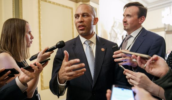 Rep. Hakeem Jeffries, D-N.Y., is interviewed about Robert Mueller outside the House chamber, Monday June 3, 2019, on Capitol Hill in Washington, before a House vote to approve a $19 billion disaster aid bill. (AP Photo/Jacquelyn Martin)