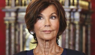 New Austrian Chancellor Brigitte Bierlein is seen during an inauguration ceremony at Hofburg palace in Vienna, Austria, Monday, June 3, 2019. (AP Photo/Ronald Zak)