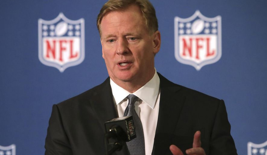 "FILE - In this Dec. 12, 2018, file photo, NFL commissioner Roger Goodell speaks during a news conference in Irving, Texas. Goodell is reiterating his stance in wanting to reduce the four-game preseason schedule at a time the league and player's association have begun preliminary talks on a new collective bargaining agreement. Goodell cites discussions he's had with coaches in saying he doesn't believe four preseason games are necessary to evaluate and develop players for the start of the regular season. He says the NFL should do everything to the highest quality, ""and I'm not sure preseason games meet that level right now."" Goodell spoke Monday, June 3, 2019, while participating in Bills' Hall of Fame quarterback Jim Kelly's 33rd charity golf tournament outside of Buffalo. (AP Photo/LM Otero, File)"