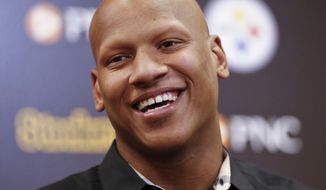 FILE - In this June 6, 2018, file photo, Pittsburgh Steelers linebacker Ryan Shazier takes questions during a news conference at the NFL football teams headquarters in Pittsburgh. Shazier has won the 2019 George Halas Award by the Professional Football Writers of America. The Halas Award is given to an NFL player, coach or staff member who overcomes the most adversity to succeed. Shazier is making progress from a spinal contusion suffered in the 2017 season while making a tackle and has not played since. (AP Photo/ Photo/Keith Srakocic, File)