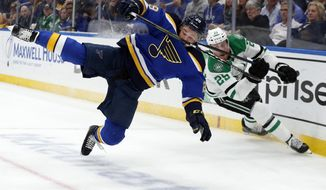 FILE - In this May 7, 2019, file photo, St. Louis Blues defenseman Vince Dunn (29), left, and Dallas Stars right wing Brett Ritchie (25) compete for control of a loose puck during the first period in Game 7 of an NHL second-round hockey playoff series in St. Louis. Dunn is expected to return to the St. Louis Blues lineup in Game 4 of the Stanley Cup Final against the Boston Bruins after missing almost three weeks with facial injuries and a suspected concussion. (AP Photo/Jeff Roberson, File)