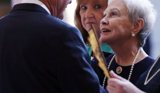 Kay Webber Cochran, right, widow of the late former U.S. Senator Thad Cochran, speaks with Mississippi Gov. Phil Bryant, left, during the first of two funeral services for the late Republican senator Thad Cochran, in the Mississippi State Capitol rotunda in Jackson, Miss., Monday, June 3, 2019. Cochran was 81 when he died Thursday in a veterans' nursing home in Oxford, Mississippi. He was the 10th longest serving senator. (AP Photo/Rogelio V. Solis)