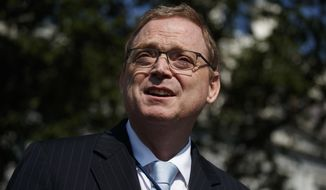 Outgoing chairman of the White House Council of Economic Advisers Kevin Hassett talks to reporters outside the White House, Monday, June 3, 2019, in Washington. (AP Photo/Evan Vucci) **FILE**