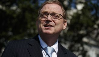 Outgoing chairman of the White House Council of Economic Advisers Kevin Hassett talks to reporters outside the White House, Monday, June 3, 2019, in Washington. (AP Photo/Evan Vucci)