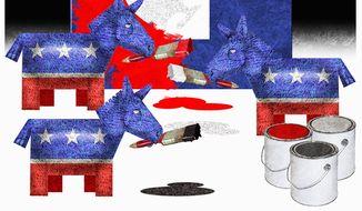 Illustration on Democrats' fascist characterization of President Trump by Alexander Hunter/The Washington Times