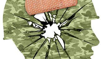 Soldier Trauma Illustration by Greg Groesch/The Washington Times