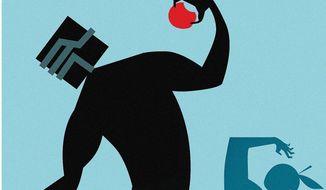 Illustration on antitrust laws by Linas Garsys/The Washington Times