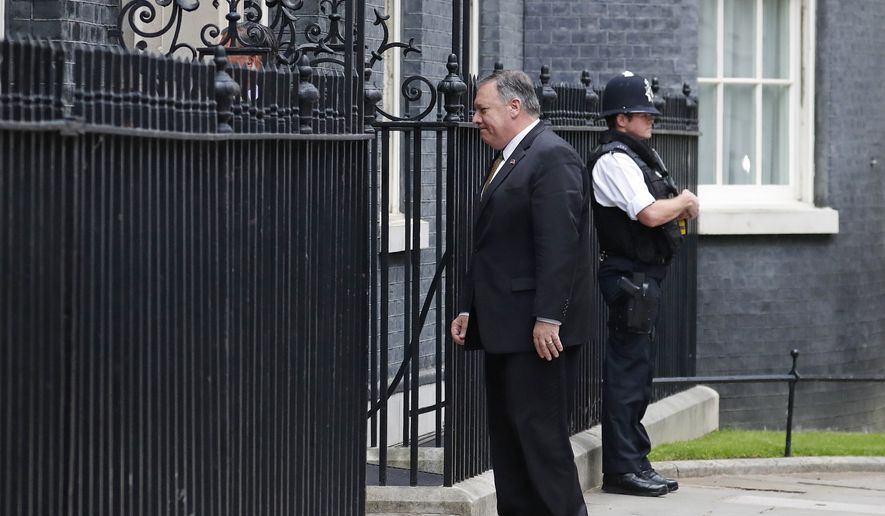 U.S. Secretary of State Mike Pompeo arrives at 10 Downing Street in central London, Tuesday, June 4, 2019. President Donald Trump will turn from pageantry to policy Tuesday as he joins British Prime Minister Theresa May for a day of talks likely to highlight fresh uncertainty in the allies' storied relationship.(AP Photo/Frank Augstein)