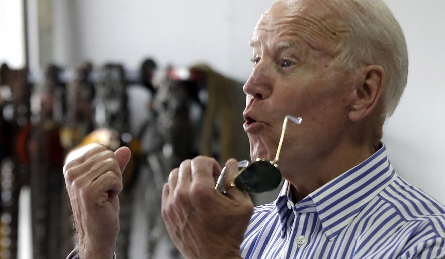 Former vice president and Democratic presidential candidate Joe Biden speaks during a tour at the Plymouth Area Renewable Energy Initiative, Tuesday, June 4, 2019, in Plymouth, N.H. (AP Photo/Elise Amendola)