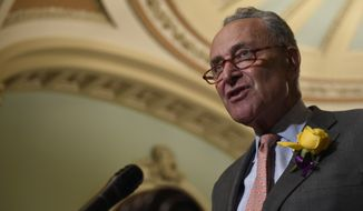Senate Minority Leader Sen. Chuck Schumer of N.Y., speaks to reporters following the weekly policy lunches on Capitol Hill in Washington, Tuesday, June 4, 2019. (AP Photo/Susan Walsh) **FILE**