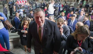 Secretary of State Mike Pompeo departs after a new conference with President Donald Trump and British Prime Minister Theresa May at the Foreign Office, Tuesday, June 4, 2019, in central London. (AP Photo/Alex Brandon)