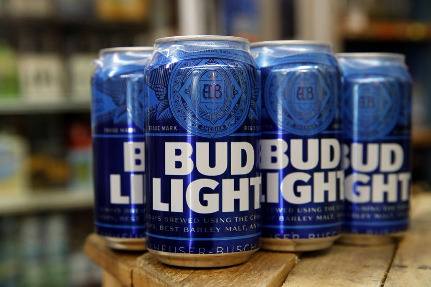 In a Thursday Jan. 10, 2019, photo, cans of Bud Light beer are seen in Washington. (AP Photo/Jacquelyn Martin) **FILE**