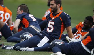 Denver Broncos quarterback Joe Flacco takes part in drills at the team's NFL football training facility Tuesday, June 4, 2019, in Englewood, Colo. (AP Photo/David Zalubowski)
