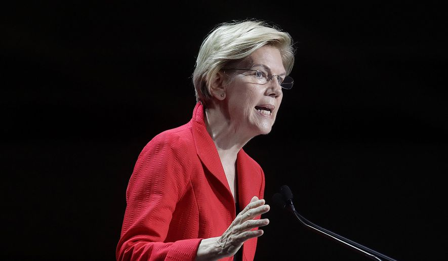 Democratic presidential candidate Sen. Elizabeth Warren, D-Mass., speaks during the 2019 California Democratic Party State Organizing Convention in San Francisco, Saturday, June 1, 2019. (AP Photo/Jeff Chiu) ** FILE **