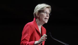 Democratic presidential candidate Sen. Elizabeth Warren, D-Mass., speaks during the 2019 California Democratic Party State Organizing Convention in San Francisco, Saturday, June 1, 2019. (AP Photo/Jeff Chiu)