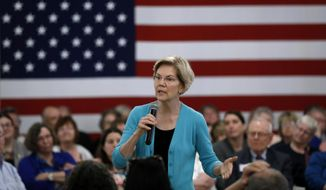 Democratic presidential candidate Sen. Elizabeth Warren speaks to local residents during a meet and greet, Sunday, May 26, 2019, in Ottumwa, Iowa.(AP Photo/Charlie Neibergall)