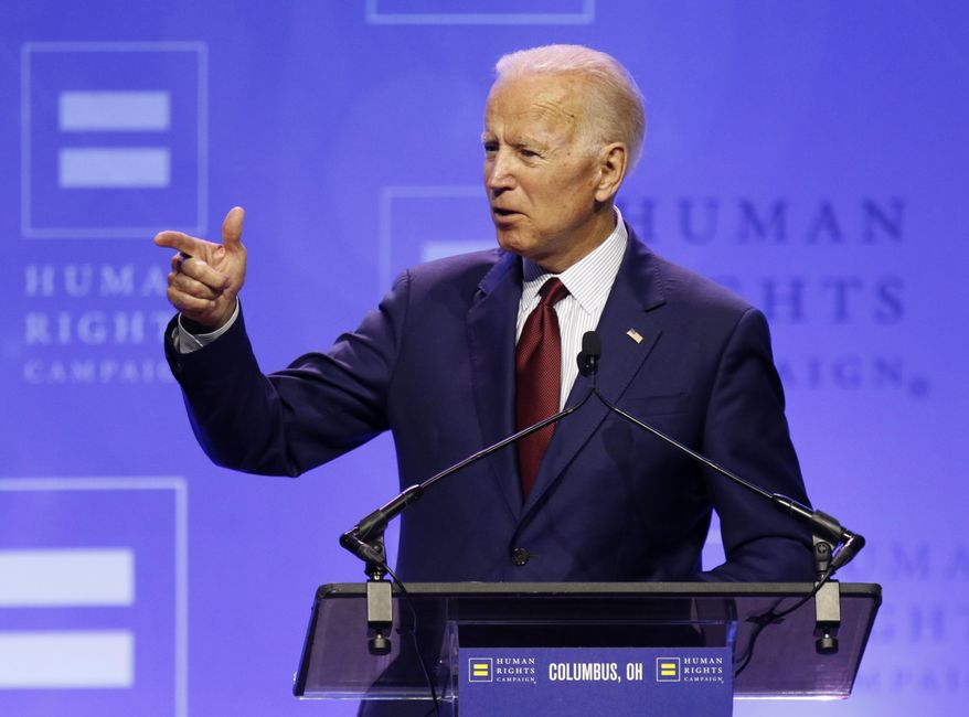 Democratic presidential candidate, former Vice President Joe Biden speaks during the Human Rights Campaign Columbus, Ohio Dinner at Ohio State University Saturday, June 1, 2019. (AP Photo/Paul Vernon) ** FILE **