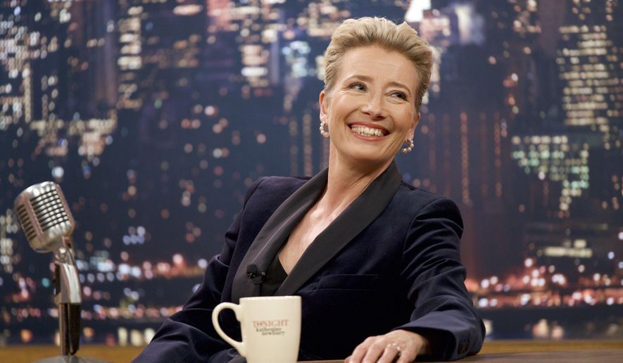 "This image released by Amazon Studios shows Emma Thompson in a scene from ""Late Night."" (Emily Aragones/Amazon Studios via AP)"