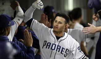 San Diego Padres' Manny Machado, center, reacts after hitting a grand slam during the sixth inning of a baseball game against the Philadelphia Phillies, Monday, June 3, 2019, in San Diego. (AP Photo/Gregory Bull)