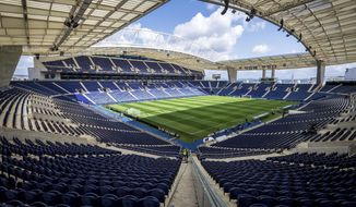 A general view of the Dragao stadium in Porto, Portugal, Tuesday, June 4, 2019. Switzerland will face Portugal Wednesday in a UEFA Nations League semifinal soccer match in Porto. (AP Photo/Luis Vieira)
