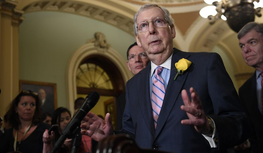 Senate Majority Leader Mitch McConnell of Ky., speaks to reporters following the weekly policy lunches on Capitol Hill in Washington, Tuesday, June 4, 2019. (AP Photo/Susan Walsh)