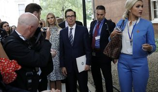 Secretary of Treasury Secretary Steve Mnuchin and Senior White House Advisor Ivanka Trump and others, wait to enter 10 Downing Street, Tuesday, June 4, 2019, in London. (AP Photo/Alex Brandon)