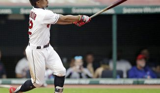 Cleveland Indians' Francisco Lindor watches his ball after hitting a solo home run off Minnesota Twins starting pitcher Devin Smeltzer in the third inning of a baseball game, Tuesday, June 4, 2019, in Cleveland. (AP Photo/Tony Dejak)