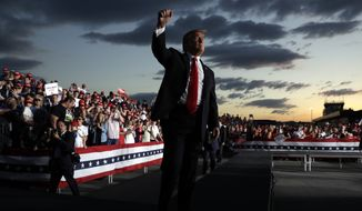 President Donald Trump gestures to the crowd as he finishes speaking at a campaign rally, Monday, May 20, 2019, in Montoursville, Pa. (AP Photo/Evan Vucci)