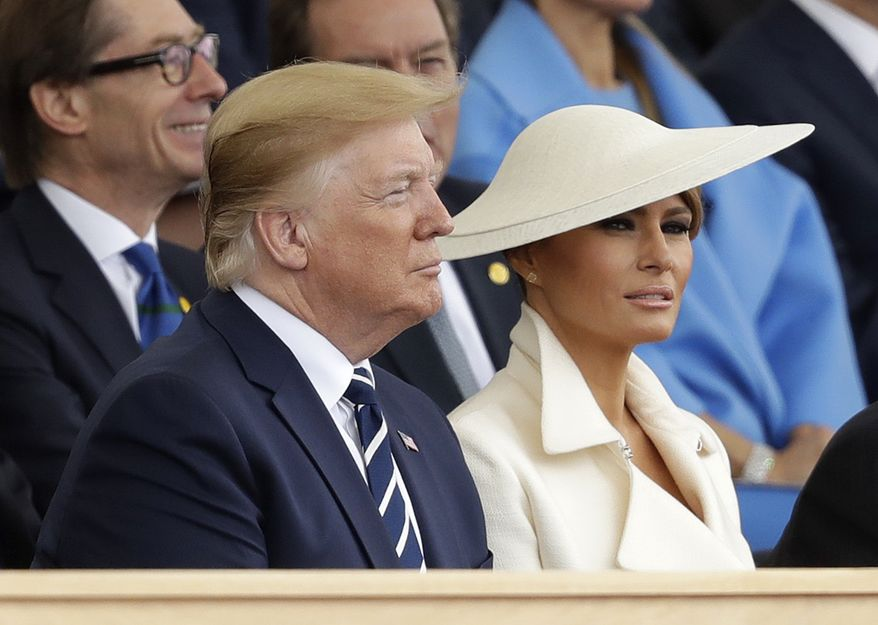 President Donald Trump and first lady Melania Trump attend an event to mark the 75th anniversary of D-Day in Portsmouth, England Wednesday, June 5, 2019. World leaders including U.S. President Donald Trump are gathering Wednesday on the south coast of England to mark the 75th anniversary of the D-Day landings. (AP Photo/Matt Dunham)