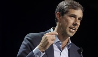 In this June 1, 2019, file photo, Democratic presidential candidate and former Texas Rep. Beto O'Rourke speaks during the 2019 California Democratic Party State Organizing Convention in San Francisco. (AP Photo/Jeff Chiu) ** FILE **