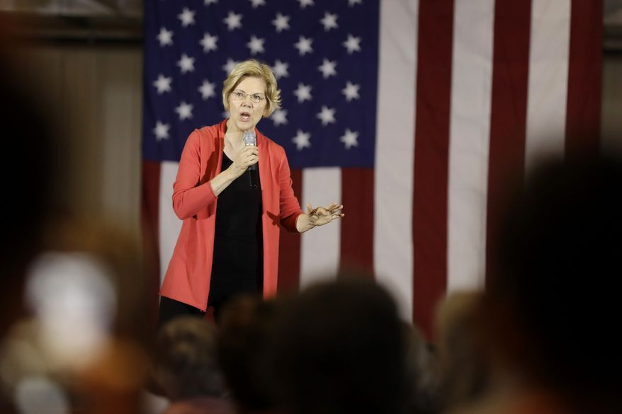 Democratic presidential candidate Sen. Elizabeth Warren, D-Mass., speaks at the RV/MH Hall of Fame and Museum, Wednesday, June 5, 2019, in Elkhart, Ind. (AP Photo/Darron Cummings)