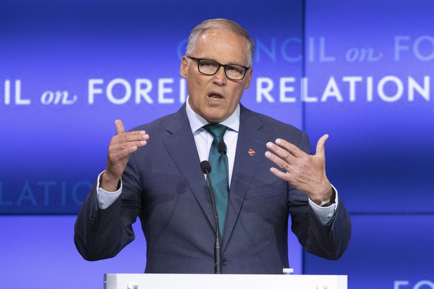 Democratic Presidential candidate Washington Gov. Jay Inslee speaks at the Council on Foreign Relations, Wednesday, June 5, 2019 in New York. (AP Photo/Mark Lennihan) ** FILE **