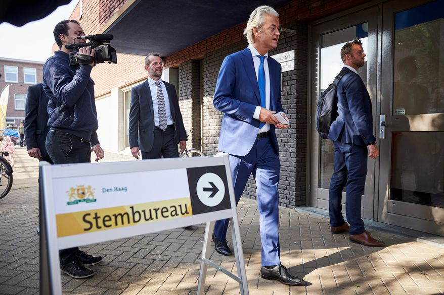 Geert Wilders, leader of the Dutch Party for Freedom, arrives at a polling station to cast his vote in the European elections in The Hague, Netherlands, Thursday, May 23, 2019. (AP Photo/Phil Nijhuis) ** FILE **
