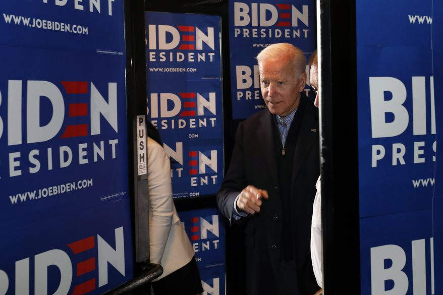 Former Vice President and Democratic presidential candidate Joe Biden arrives at the Community Oven restaurant during a campaign stop in Hampton, N.H., Monday, May 13, 2019. (AP Photo/Michael Dwyer) ** FILE **