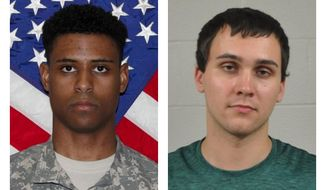 "FILE - This combination of photos provided by the U.S. Army and the University of Maryland Police Department shows Richard Collins III, right, and Sean Urbanski. Prosecutors can present evidence that Urbanski, a white man charged with fatally stabbing Richard Collins III, on the University of Maryland's campus had racist memes on his cellphone and ""liked"" a racist Facebook page, a judge ruled Wednesday, June 5, 2019. (U.S. Army, University of Maryland Police Department via AP, File)"