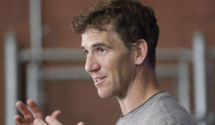 New York Giants quarterback Eli Manning speaks during a news conference at the team's NFL football training facility Wednesday, June 5, 2019, in East Rutherford, N.J. (AP Photo/Frank Franklin II)