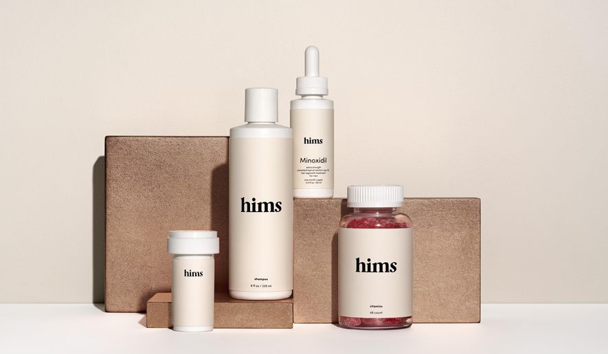 This undated image provided by Hims shows some of the company's products. Online startups including Hims and Roman are banking on a mix of convenience, viral marketing and glossy packaging to turn generic prescription drugs and other pharmacy staples into a profitable new business model. (Stephanie Dinkel/Hims via AP)