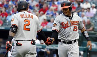 Baltimore Orioles' Jonathan Villar (2) and Pedro Severino, right celebrate a solo home run by Severino during the first inning of the team's baseball game against the Texas Rangers in Arlington, Texas, Tuesday, June 4, 2019. (AP Photo/Tony Gutierrez)