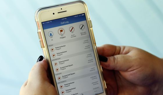 A call log displayed via an AT&T app on a cellphone in Orlando, Fla. (AP Photo/John Raoux, File) **FILE**