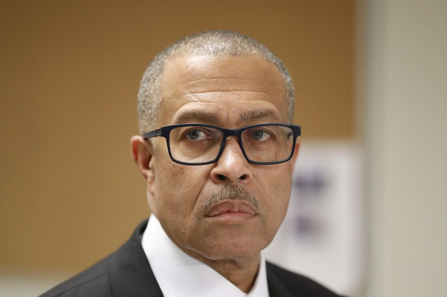 """FILE - In this Oct. 19, 2018 file photo, Detroit Police Chief James Craig addresses reporters in Detroit. Police in Detroit say the killings of three women since March could be the work of a """"serial murderer."""" Chief James Craig says the homicides appear to be connected while speaking to reporters after a body was discovered in a vacant house Wednesday, June 5m 2019, more than two months after the first victim was found. Craig says detectives believe the women worked in the sex trade.(AP Photo/Carlos Osorio, File)"""