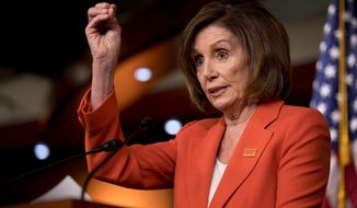 In this June 5, 2019, photo, House Speaker Nancy Pelosi of Calif., speaks to reporters at the Capitol in Washington. The political clock is a significant factor in whether majority House Democrats launch any impeachment proceedings against President Donald Trump. Theres increasing pressure on Pelosi to at least start an impeachment inquiry into whether Trump obstructed special counsel Robert Muellers investigation. (AP Photo/Andrew Harnik)